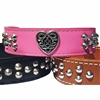 Celtic Heart Studded Leather Dog Collar