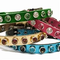 Crystal Kitty Leather Breakaway Cat Collars with Bell