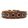 Topaz and Brown Leather Cat Collar