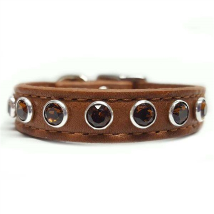Topaz Leather Small Dog Collar