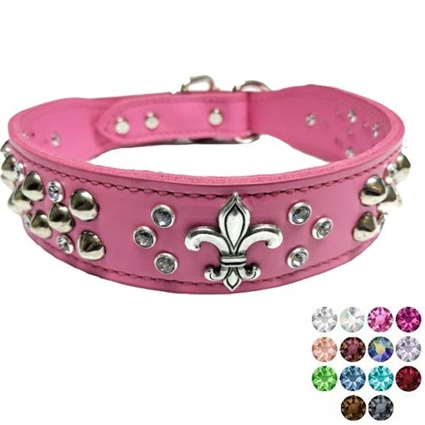 Fleur-de-lis Leather Dog Collar with Crystal Bling
