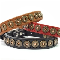 Shotgun Shell Leather Small Dog Collar