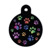 Dog ID Tags | Black Multi-Paws | Personalized, Engraved