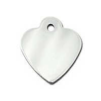 Dog Cat ID Tags | Chrome Small Heart  | Personalized, Engraved