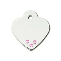 Designer Dog Cat ID Tags | Pink Crystals Heart