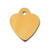 Dog Cat ID Tags | Gold Small Heart  | Personalized, Engraved