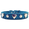 Turquoise Leather Dog Cat Collars | Bling Dog Collars