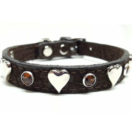 Brown Leather Dog Cat Collars | Sweetheart Bling