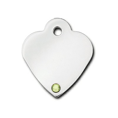 Designer Dog Cat ID Tags | Engraved | Small Heart Peridot