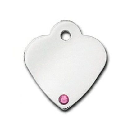 Dog Cat ID Tags | Small Heart Pink Tourmaline | Engraved