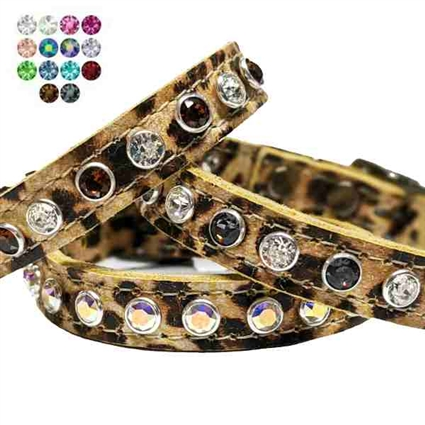 Leopard Print Leather Small Dog Collars | Cat Collars