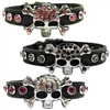 Rhinestone Skull Leather Designer Dog Cat Bling Collar