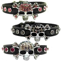 Rhinestone Bling Skull Leather Dog Cat Collar , designer dog collar,  fancy dog collar, skull dog collar, cat collar, leather dog collar