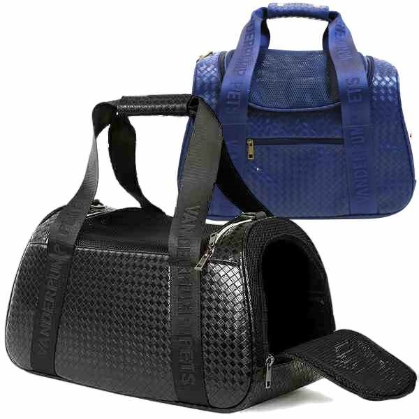 4988d5685d This chic faux leather duffle pet carrier has an intricate woven print faux  leather bag with nylon straps that complement the bag.