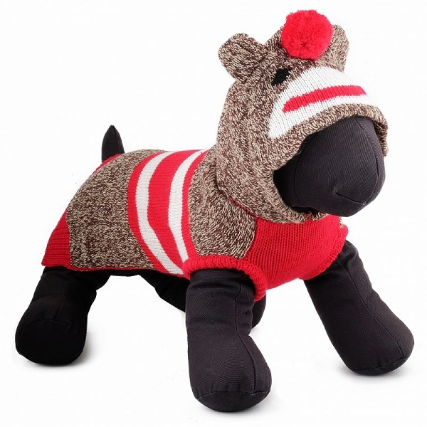 Sock The Monkey Hooded Dog Sweater