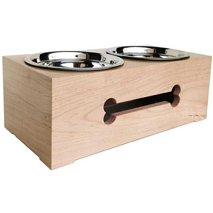 Raised Dog Bowls | Wooden Double Dog Bowl Feeder