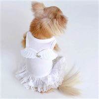Designer Dog Dress, dog halloween costume, angel dog costume, white dog dress