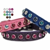Custom Leather Dog Cat Collars with Crystal Bling