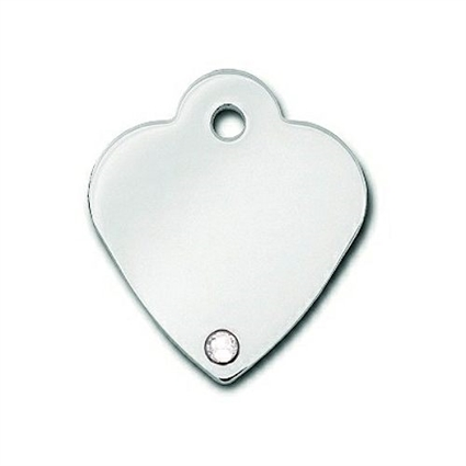 Dog Cat ID Tags | Small Heart Crystal | Engraved