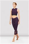 BLOCH Ladies Bordeaux Zip Front Crop Top