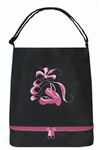 Sassi Designs Ballet Tote(Black) With Bottom Shoe Compartment-Embroidered Shoes & Ribbons