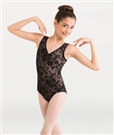 Body Wrappers Girls Flower Mesh Tank Leotard