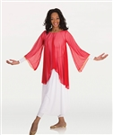 Body Wrappers Chiffon Flowing Draped Bell Angel Sleeve Tunic