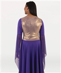 Body Wrappers Adults Solid Dress w/ Gold Bodice Overlay