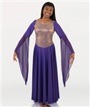Body Wrappers Womens Solid Dress w/ Gold Bodice Overlay