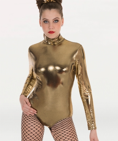 84a3f61615 Body Wrappers Adult Metallic Long Sleeve Leotard - You Go Girl ...