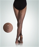 Body Wrappers Girls' Rhinestone Backseam Fishnet Tights - You Go Girl Dancewear