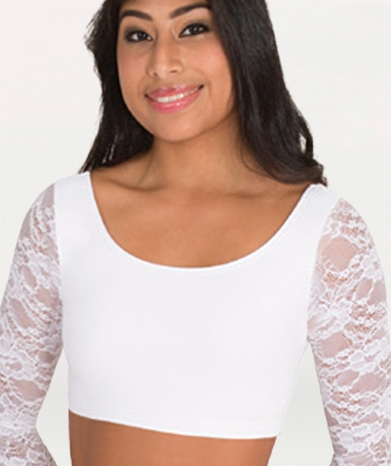 9505087862a Body Wrappers Lace long Sleeve Scoop Neck Bra Top for girls and adults - You  Go Girl Dancewear