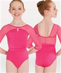 Body Wrappers Power Mesh 3/4 Sleeve Keyhole Leotard