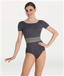 Body Wrappers Short Sleeve Mesh Waist Leotard