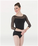 Body Wrappers Dotted 3/4 Sleeve Leotard