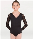 Body Wrappers Long Sleeve Lace Back Leotard