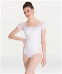 Body Wrappers Lace Short Sleeve Leotard