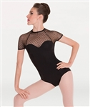 Body Wrappers Diamond Mesh Cap Sleeve Leotard