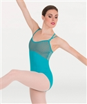Body Wrappers Diamond Mesh Cross-Back Cami Leotard