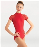 Body Wrappers Open Mesh Short Sleeve Leotard
