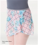 Body Wrappers Adult Chiffon Skirt Pink Lattice Rose