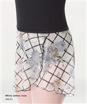 Body Wrappers Adult Chiffon Skirt - White Lattice Rose