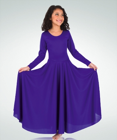 8371b3d166d Body Wrappers Praise Dance Loose Fit Long Sleeve Dance Dress