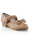 Capezio Girls Mary Jane Tap Shoe with Velcro & removable bow, black, tan, black patent - You Go Girl Dancewear