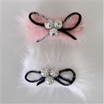 Dasha Furry Rhinestone Bow Barrette