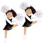 Dasha Set of 2 Cheerleader Ornament in Black