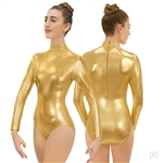 Eurotard Plus Size Metallic Mock Neck Long Sleeve Leotard - You Go Girl Dancewear!