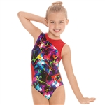 Eurotard Child Contrast Metallic Graffiti Leotard