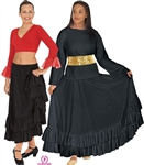 Eurotard Adult Solid Double Ruffle Flamenco Skirt - You Go Girl Dancewear