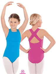 Eurotard Child Microfiber Woven Lattice Back Camisole Leotard - 4493C